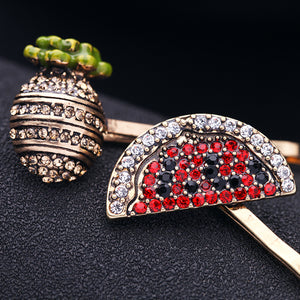 Set of 2 Crystal-embellished Pineapple and Watermelon Hair Slides