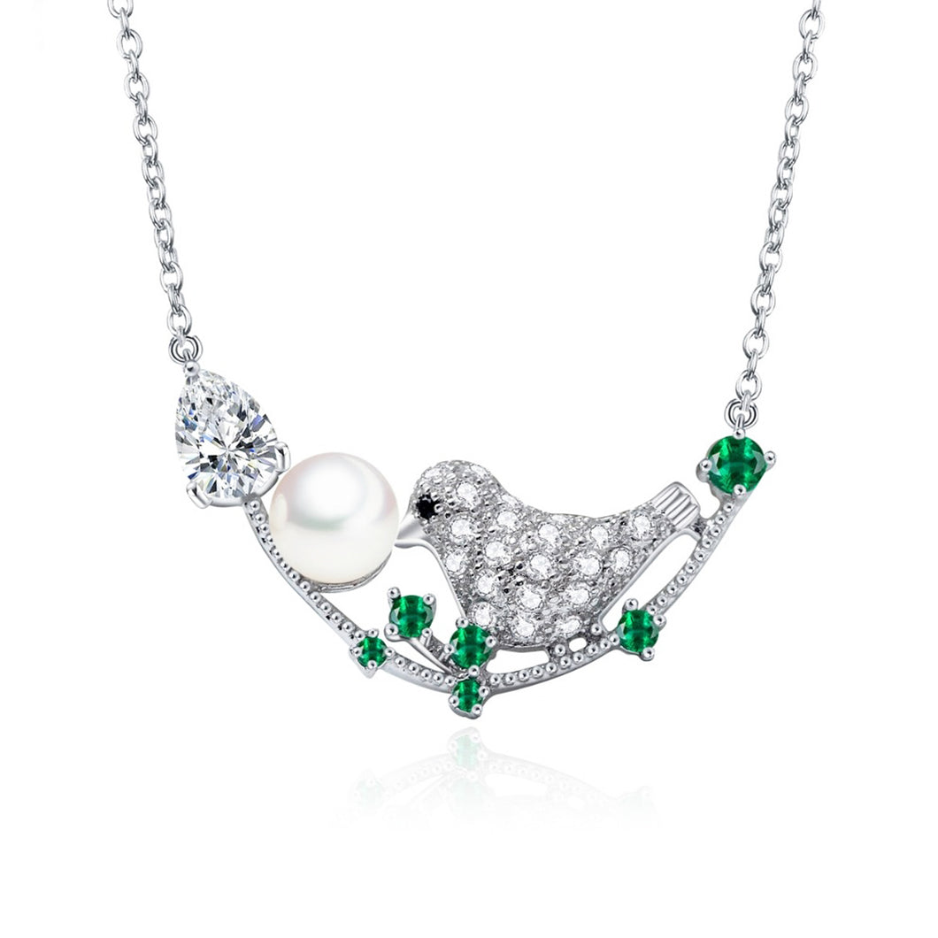 Romantic Cubic Zirconia Robin and Faux Pearl Pendant Necklace