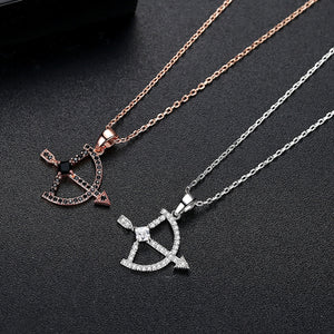 Cubic Zirconia Cupid's Bow & Arrow Necklace