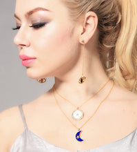 Load image into Gallery viewer, The Crescent Moon & Star is one of our world's most ancient symbols, combining powerful icons joining man and woman. Crystal star twinkle in a blue enamel half crescent moon. Ivory enamel full crescent moon embrace crystal twinkle star.  Brighten up your day! Wear this stunning and unique necklace, this necklace stack is relaxed styling you can wear immediately.