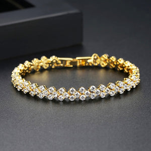 Delicate Galaxy Round Cubic Zirconia Three Row Tennis Bracelet