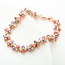 Load image into Gallery viewer, Romantic Colorful Cubic Zirconia Flower Cluster Link Bracelet