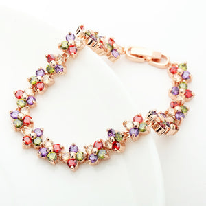 Romantic Colorful Cubic Zirconia Flower Cluster Link Bracelet