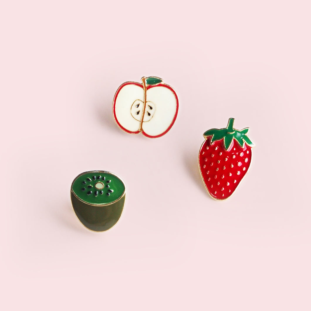 We'll look even sweeter in a colorful pin featuring vibrant and fun fruits. Made from the highest quality hard enamel, detailed with gold colored metal, this smooth pin will fit perfectly on your lapel.