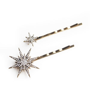 Set of Two Antique-gold Tone Crystal Stars Hair Slides