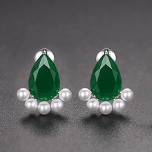 Load image into Gallery viewer, Classic Pear-shaped Cubic Zirconia and Faux Pearl Earrings