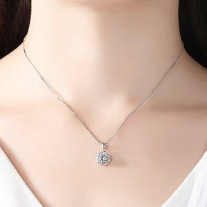 Stunning and Sparkling Halo Drop Pendant Necklace