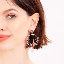 Load image into Gallery viewer, Description:  These earrings feature beautiful blooming wild roses, a pair of fairy-wrens in a romantic and poetic setting displaying faithful love, with a faux pearl embellished blossom.  This intricate, feminine and romantic design is perfect for day to day wear.
