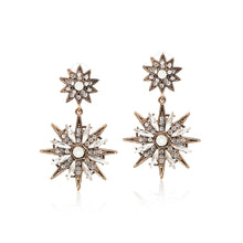 Load image into Gallery viewer, Celestial Starburst Crystal Drop Earrings
