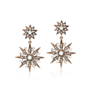 Celestial Starburst Crystal Drop Earrings