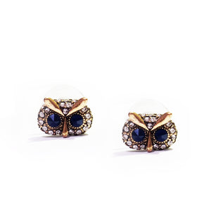 Antique Gold-tone Pair of Owl with Crystal Eyes Stud Earrings  The owl is the wisdom, spiritual and intellectual animal with emblematic of a deep connection with wisdom of the soul. These playful and lovely owls' earrings made from zinc alloy and crystals, these would be a wonderful addition to any of your daily wardrobe.
