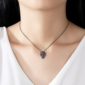 Chic and Punk Cubic Zirconia Skull Pendant Necklace
