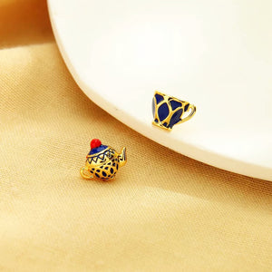 Enamel Teapot and Teacup Mismatch Statement Stud Earrings