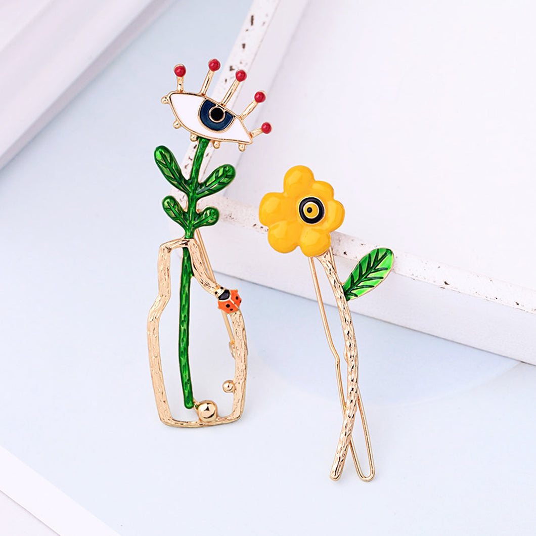 Enamel Evil Eye Brooch and Floral Barrette Set