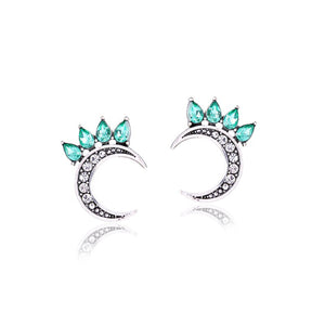 Crystal-embellished Magical Half Moon Stud Earrings