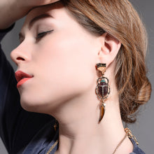 Load image into Gallery viewer, Egyptian Geometric Scarab Beetle Dangle Earrings