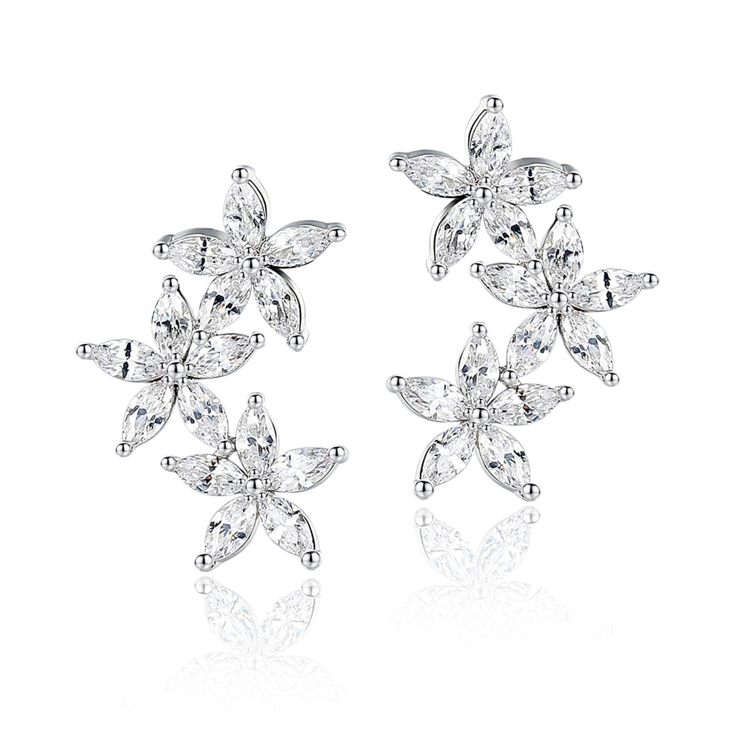 Marquise Cubic Zirconia Triple Blossoms Earrings