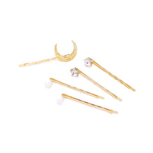 Load image into Gallery viewer, Crystal Stars and Faux Pearls and Moon Set of 5 Hair Clips