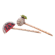 Load image into Gallery viewer, Set of 2 Crystal-embellished Pineapple and Watermelon Hair Slides