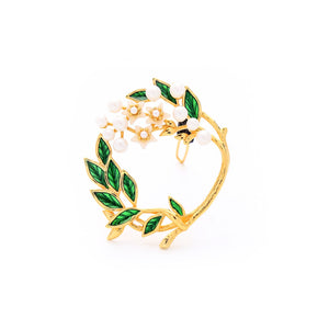 Enamel Leaves with Floral Barrette