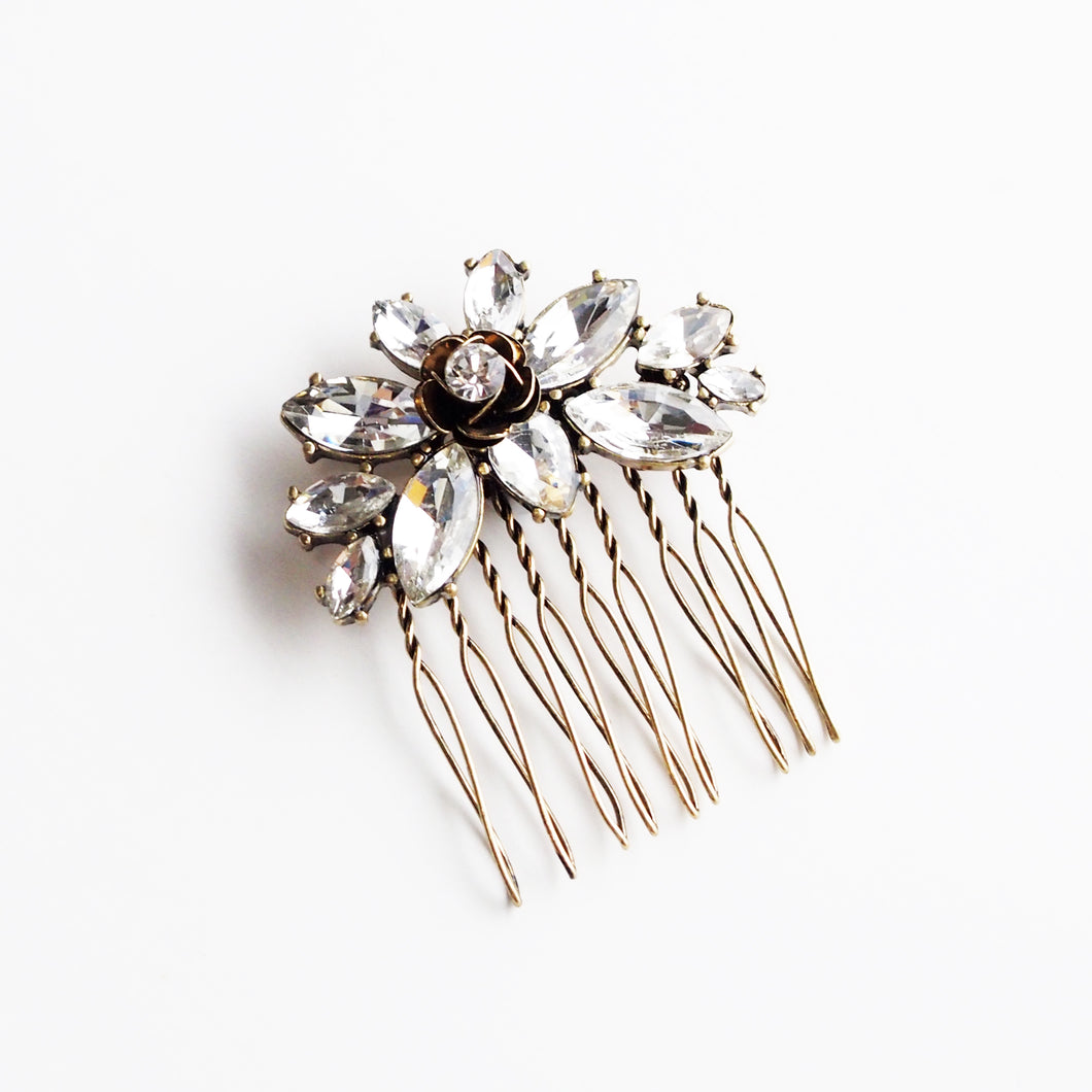 Adina Royal Rose and Crystal Comb