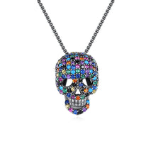 Load image into Gallery viewer, Chic and Punk Cubic Zirconia Skull Pendant Necklace