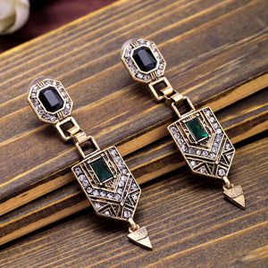 Antique-gold Art Deco Drop Earrings