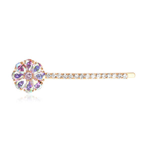 Romantic Rainbow Pear-cut Cubic Zirconia Floral Hair Clip