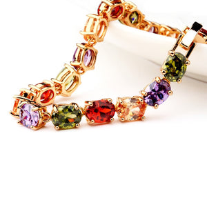 Rainbow Multi-Colored Cubic Zirconia Bracelet