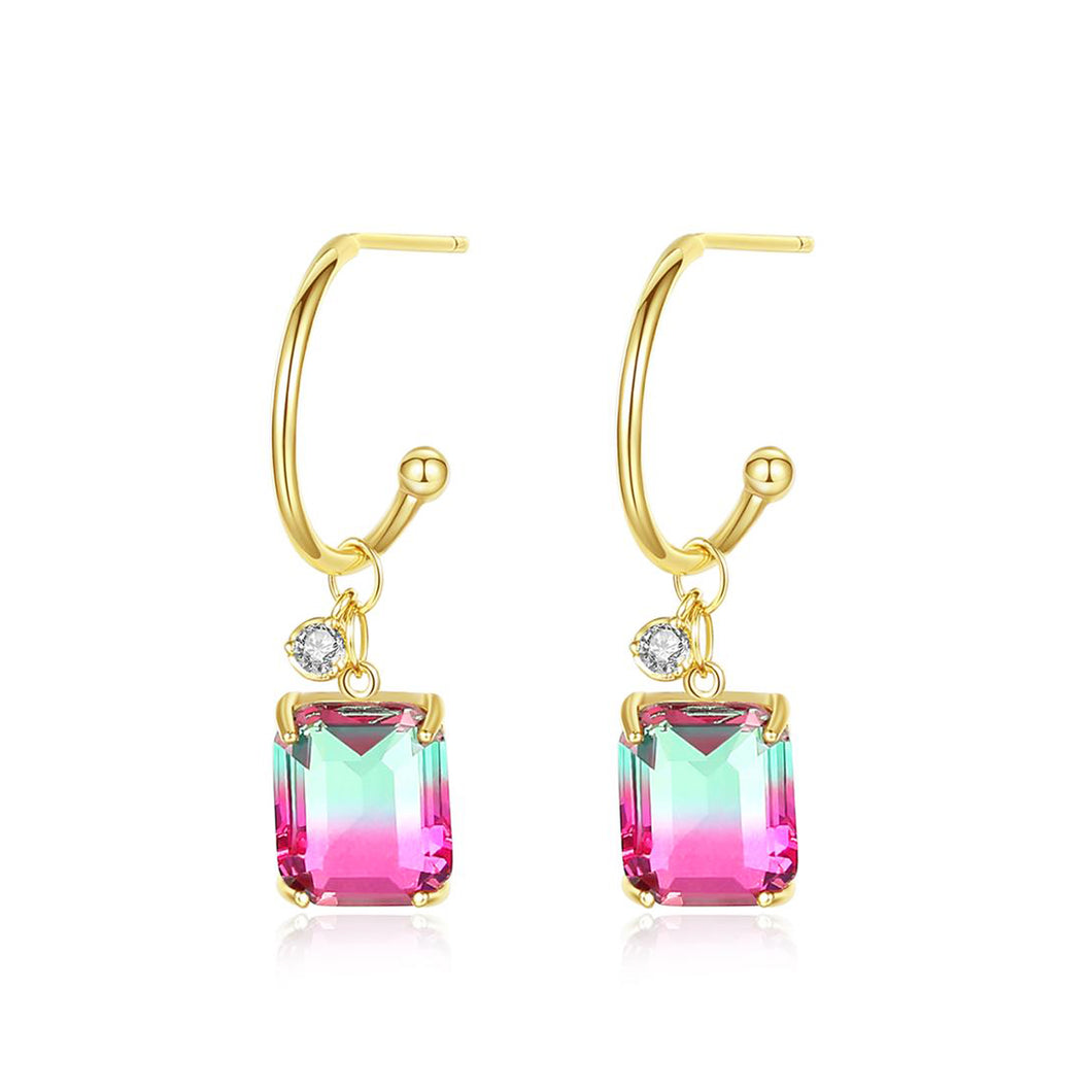 Modern Chic Emerald Cut Cubic Zirconia Drop Earrings