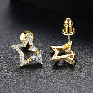 Starry Night North Star Cubic Zirconia Stud Earrings