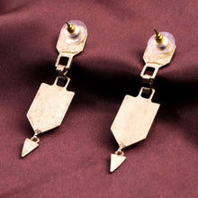 Load image into Gallery viewer, Antique-gold Art Deco Drop Earrings