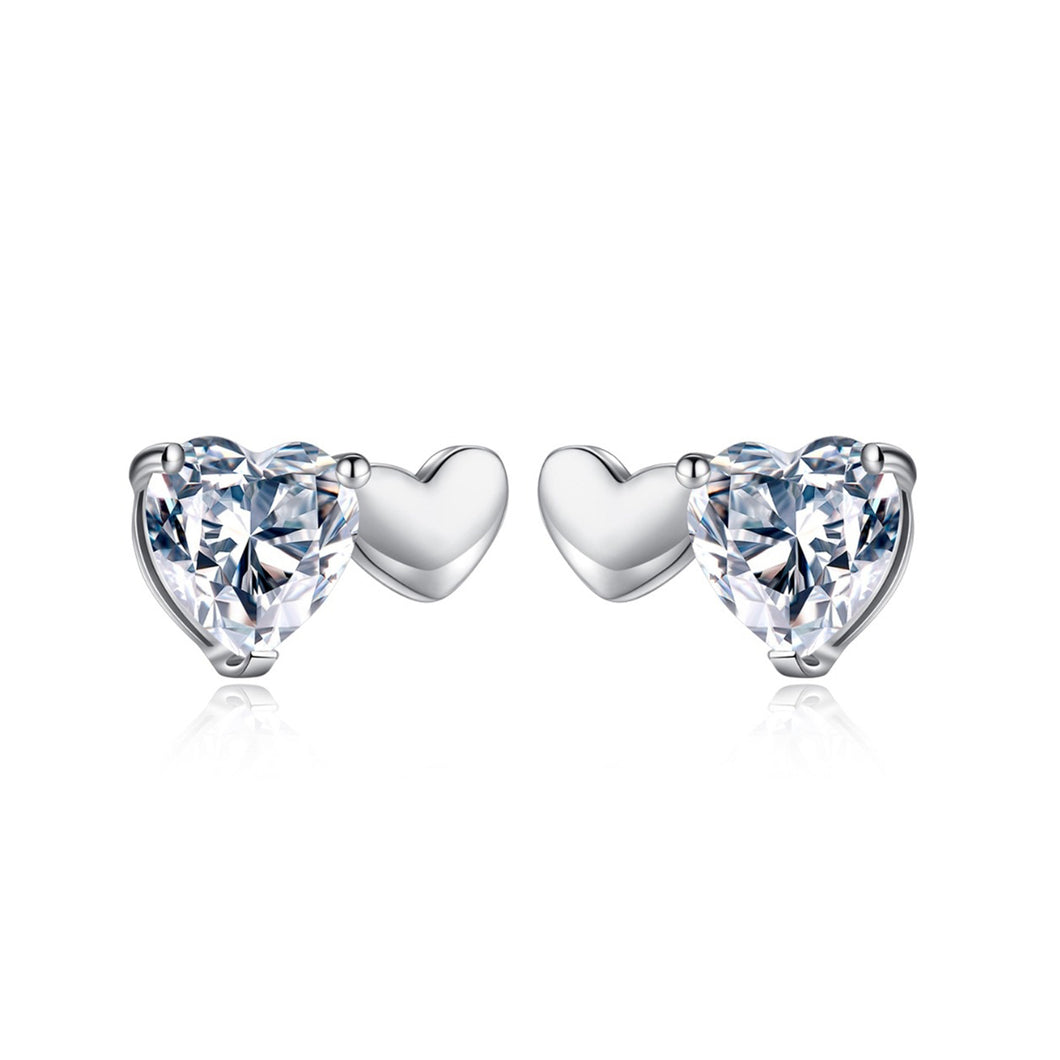 Charming Heart Cut Cubic Zirconia Stud Earrings