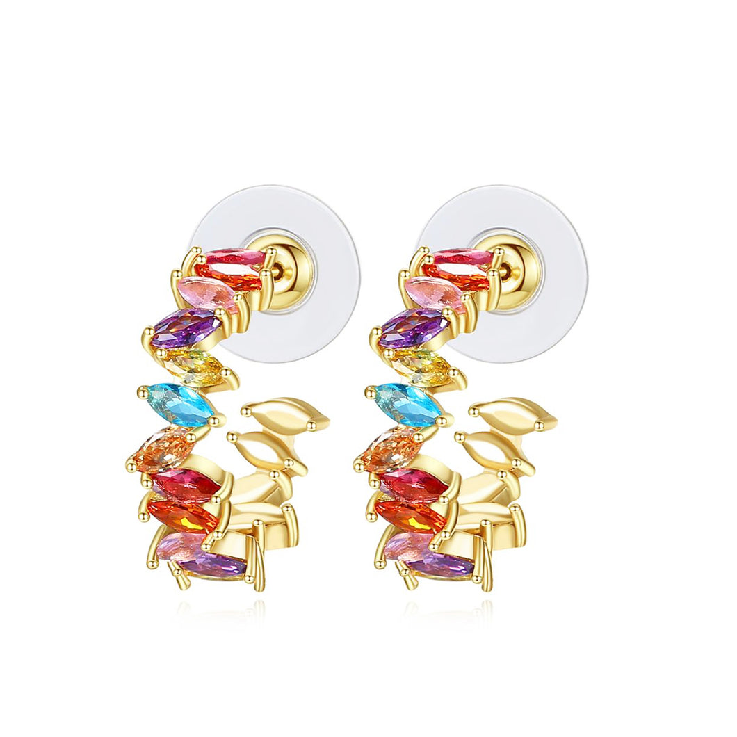 Rainbow Cubic Zirconia Marquise Hoop Earrings