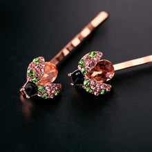 Load image into Gallery viewer, Rose Gold-tone Crystal Ladybug Hair Slides Set of 2