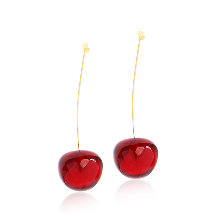 Fruit earrings are very popular now because we are all committed to staying healthy and hydrated throughout the season!  Did you know that cherries are considered a super food? Wear these sweet and juicy red cherry earrings now bring a sweet outlook from day to night and remind yourself and people around you to stay healthy and fun all the time!  The pendant is made of resin, light and a little sheer. The stem is made of gold-tone environmental zinc alloy and can be apart from the fruit.