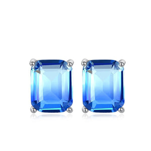 Starburst Emerald Cut Cubic Zirconia Solitaire Stud Earrings