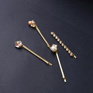 Set of 6 Crystals and Faux Pearls Cluster Hair Pins
