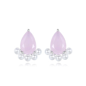 Classic Pear-shaped Cubic Zirconia and Faux Pearl Earrings