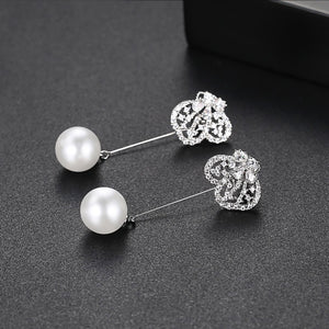 Butterfly Cubic Zirconia and Faux Pearl Dangling Earrings