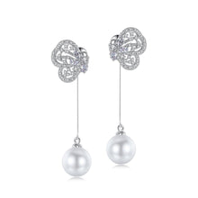 Load image into Gallery viewer, Butterfly Cubic Zirconia and Faux Pearl Dangling Earrings