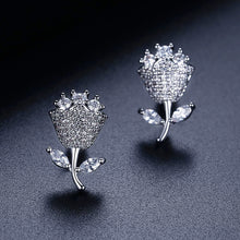 Load image into Gallery viewer, Charming Boucle D'Oreille Flower Cubic Zirconia Stud Earrings