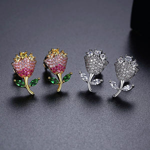 Charming Boucle D'Oreille Flower Cubic Zirconia Stud Earrings