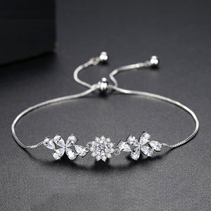 Shimmering and Dainty Floral Infinity Adjustable Bracelet