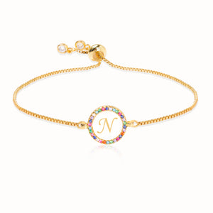Rainbow Crystal-embellished Personalized Initial Alphabet Gold-tone Adjustable Bracelet