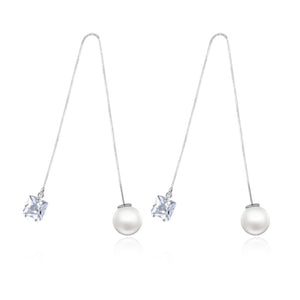 Modern and Elegant Faux Pearl Chain Drop Earrings