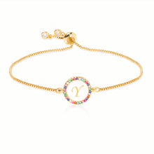 Load image into Gallery viewer, Rainbow Crystal-embellished Personalized Initial Alphabet Gold-tone Adjustable Bracelet