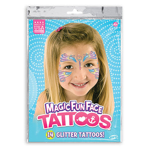 Magic Fun Faces Butterfly Glitter Costume Tattoos