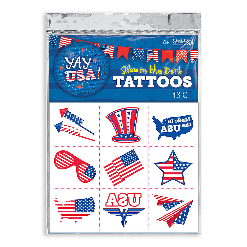 Yay USA! Glow in the Dark Costume Tattoo, 18 pc.