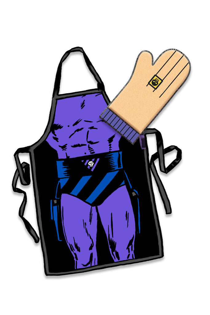 The Phantom BBQ Apron & Oven Mitt is back in stock